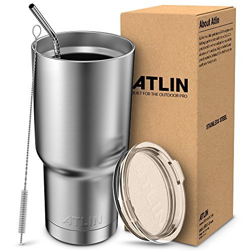 Atlin Tumbler [30 oz. Double Wall Stainless Steel Vacuum Insulation] Travel Mug [Crystal Clear Lid] Water Coffee Cup [Straw Included]For Home,Office,School – Works Great for Ice Drink, Hot Beverage
