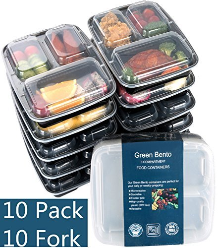 Green vege Bento 3 Compartment Meal Prep Food Storage Reusable Lunch Containers,10 Pack,Black