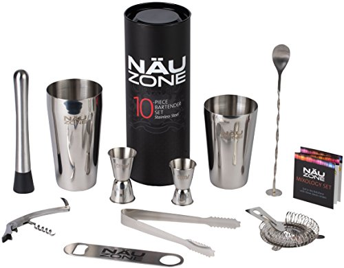 Professional BartenderKit (10 Piece) |Bartending Kit with Bottom Weighted Stainless Steel Drink Shakers – Premium Bar Set | Deluxe Gift Packaging