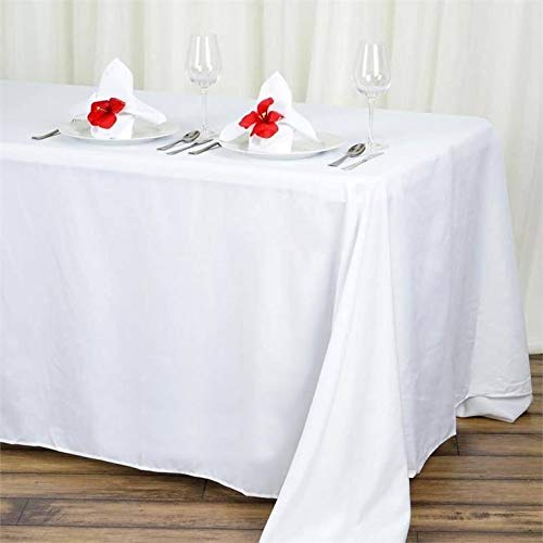 BalsaCircle 90×132-Inch White Rectangle Polyester Tablecloth Table Cover Linens for Wedding Party Events Kitchen Dining
