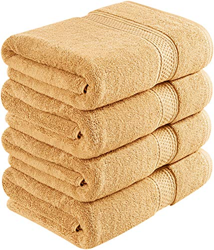 Utopia Towels 700 GSM Cotton 27-Inch-by-54-Inch  Bath Towel Set, Set of 4, Beige