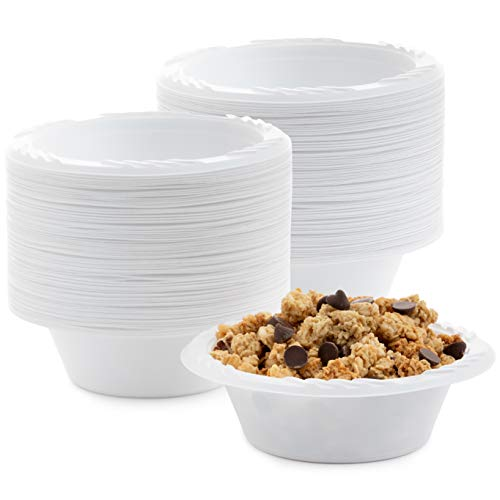 White 12 oz. Plastic Bowls – 100 Count(styles may vary)